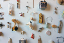 Close up of pieces made from collected items from artist friends' studios