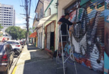 street view with artist working